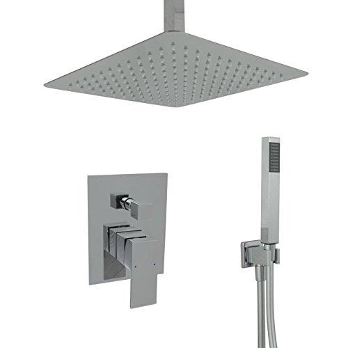 Welfenstein Regendusche komplett Set 34-30HC7D alles Metall Duschkopf 30x30 cm eckig Unterputz Deckenzulauf