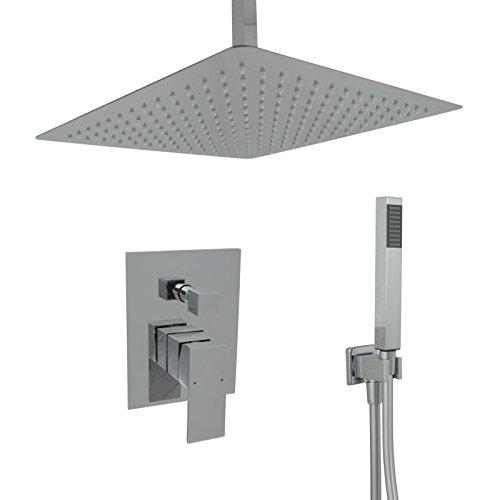 Welfenstein Regendusche komplett Set 34-40HC7D alles Metall Duschkopf 30x30 cm eckig Unterputz Deckenzulauf