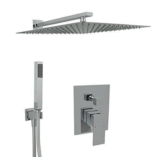 Welfenstein Regendusche komplett Set 34-40HC7Q alles Metall Duschkopf 40x40 cm eckig Unterputz
