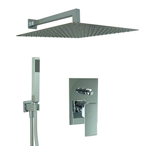 Welfenstein Regendusche komplett Set 75-40HC7 alles Metall Duschkopf 40x40 cm eckig Montage-Box Unterputz