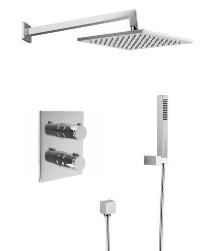 Welfenstein Thermostat Unterputz Set T-HS121 Messing eckig Regenbrause 30x30cm