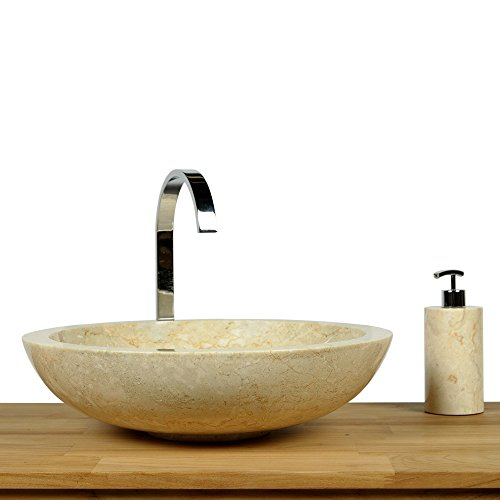 Wohnfreuden Naturstein Marmor Waschbecken rund poliert 45 cm creme