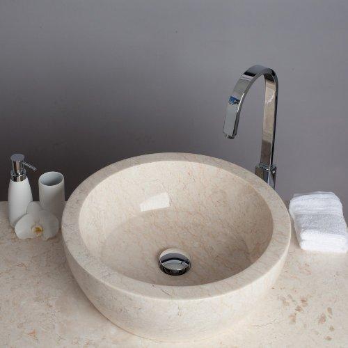 Wohnfreuden Waschbecken Tuwong Marmor rund creme