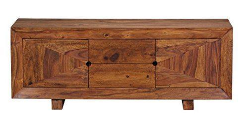 Wohnling WL1.356 Sheesham Massivholz Design Lowboard 135 x 42 x 52 cm mit 2 Schubläden und 2 Türen