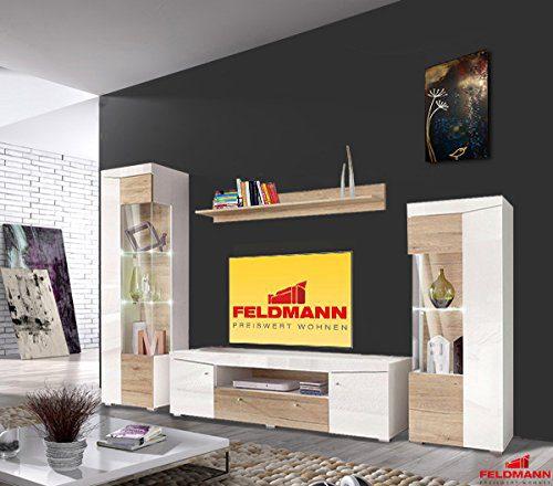Wohnwand 325840 Anbauwand 4-teilig weiß Hochglanz / sanremo eiche