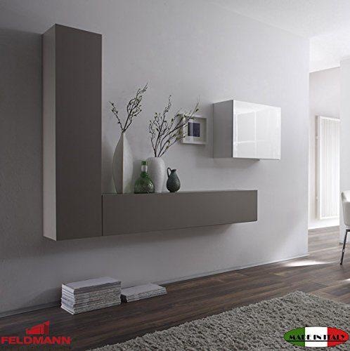 Wohnwand 555041 Anbauwand 3-teilig weiß Hochglanz lackiert / beige matt