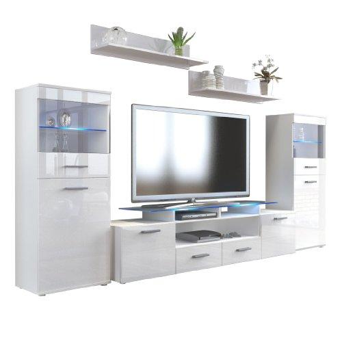 Wohnwand Almada V2 in Weiß / Weiß Hochglanz