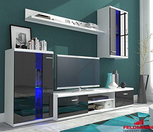Wohnwand Anbauwand 4-teilig 6406 weiß / schwarz Hochglanz inkl. LED Beleuchtung