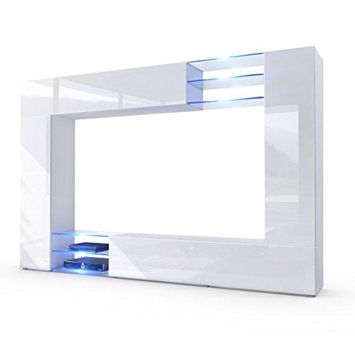 Wohnwand Anbauwand Mirage, Korpus in Weiß matt / Fronten in Weiß Hochglanz inkl. LED Beleuchtung