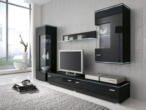 Wohnwand Anbauwand schwarz, Fronten hochglanz, optional LED-Beleuchtung, Beleuchtung:ohne Beleuchtung