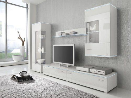 Wohnwand Anbauwand weiß, Fronten hochglanz, optional LED-Beleuchtung, Beleuchtung:ohne Beleuchtung