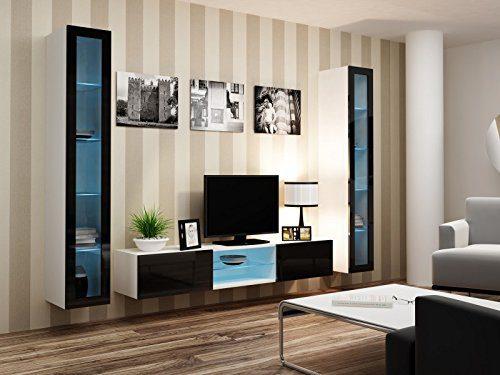 Wohnwand ' Vigo Glass IV ' Glasvitrine Hängend Hochglanz Matt , Farbe:weiß matt / schwarz Hochglanz