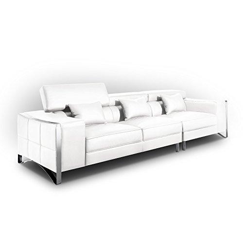 XXL Big Sofa Gusti 4-Sitzer Echtleder mit Kunstleder Edelstahl Weiß (Ohne Hocker)