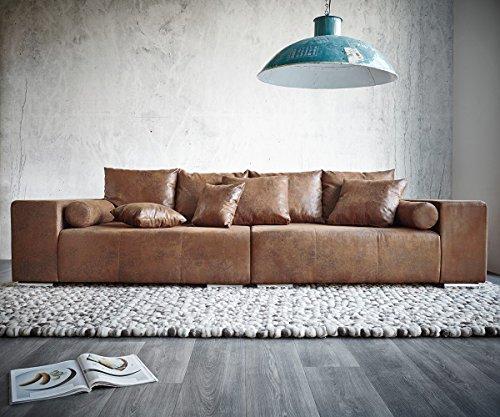 xxl couch marbeya braun 280x115 cm antik optik hocker und. Black Bedroom Furniture Sets. Home Design Ideas