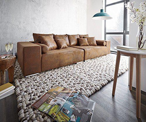 XXL-Couch Marbeya Braun 280x115 cm Antik Optik mit Kissen Bigsofa