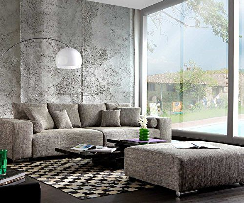 XXL-Couch Marbeya Hellgrau 280x115 inklusive Hocker Big-Sofa