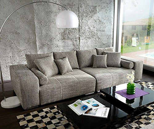 XXL-Couch Marbeya Hellgrau 280x115 inklusive Kissen Big-Sofa