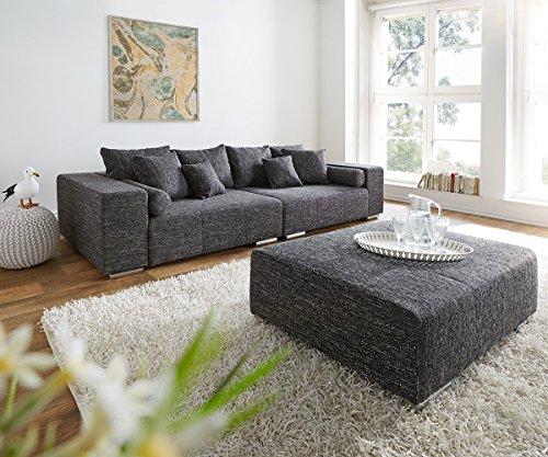 XXL-Couch Marbeya Schwarz 280x115 cm inklusive Hocker Big-Sofa