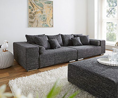 XXL-Couch Marbeya Schwarz 280x115 inklusive Kissen Big-Sofa