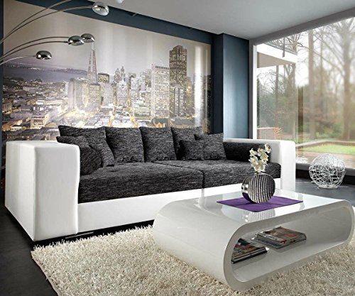 XXL-Sofa Marlen Schwarz Weiss 300x140 cm Bigsofa