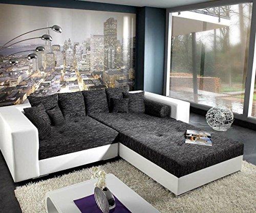 XXL-Sofa Marlen Schwarz Weiss 300x140 inklusive Hocker Bigsofa
