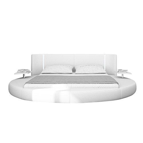 XXS® Möbel Design Bett Mugello 140 x 200 cm weiß inklusive LED Beleuchtung Rundbett Design beigefügter Nachttisch Lager Speditionsversand