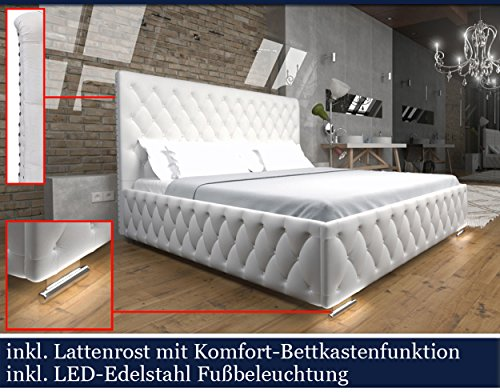 xxxl polsterbett designer polster bett mit lattenrost bettkasten mit komfort ffnung led weiss. Black Bedroom Furniture Sets. Home Design Ideas