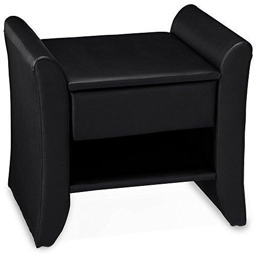 corium polster nachttisch schwarz 47cm x 37cm x 44cm nachtkonsole mit schublade und. Black Bedroom Furniture Sets. Home Design Ideas