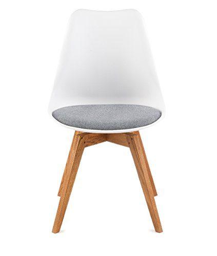designbotschaft: Davos Stuhl Weiß/Grau/ Eiche - Esszimmerstühle 1 Stck