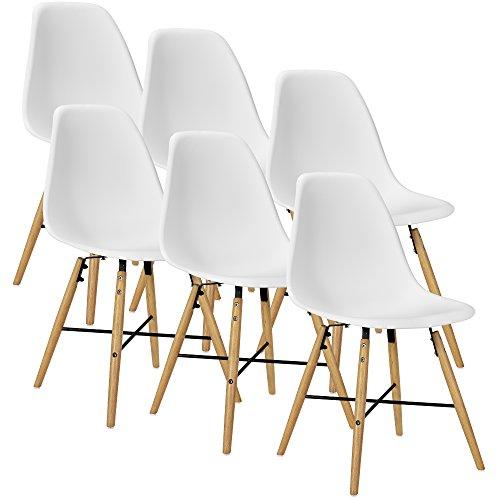 [en.casa] 6x Esszimmerstuhl weiß Esszimmer Lehnstuhl Kunststoff Küche Set