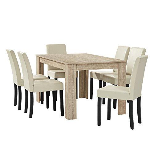 [en.casa] Esstisch Eiche hell mit 6 Stühlen creme Kunstleder gepolstert 140x90 Essgruppe Esszimmer