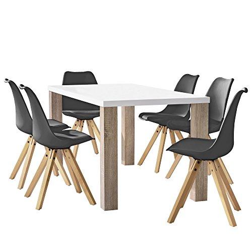[en.casa] Esstisch Eiche weiß mit 6 Stühlen grau gepolstert 160x85cm Esszimmer Essgruppe Küche