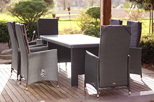 essella polyrattan essgruppe rom in grau mit verstellbaren r ckenlehnen m bel24 xxl m bel. Black Bedroom Furniture Sets. Home Design Ideas