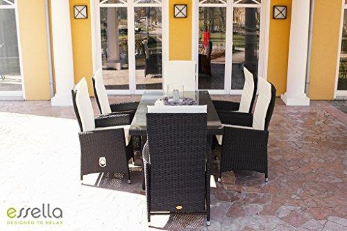 essella polyrattan essgruppe rom in grau mit verstellbaren r ckenlehnen m bel24. Black Bedroom Furniture Sets. Home Design Ideas