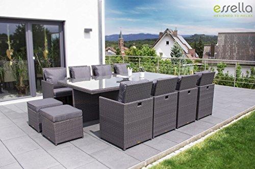 essella polyrattan essgruppe vienna 8er in grau m bel24. Black Bedroom Furniture Sets. Home Design Ideas