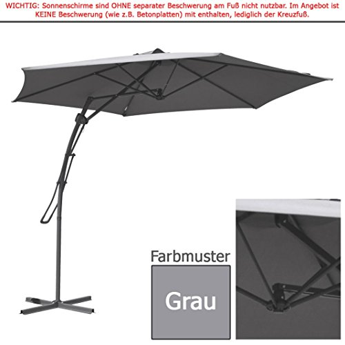 """habeig® 3m Ampelschirm """"HM"""" Grau Sonnenschirm rund 300 cm Hebelmechanik Schirm Gartenschirm"""