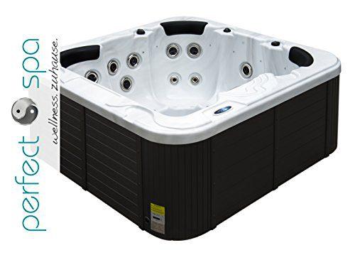 """perfect-spa Whirlpool """"Santiago"""" Indoor / Outdoor 5 Personen Whirlpools Aussenwhirlpool Jacuzzi Hot Tub Spa Außenwhirlpool Baboa Steuerung (Wanne SkyWhite, Außenverkleidung Schwarz)"""