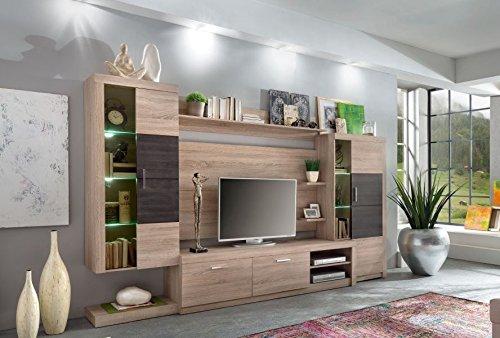 trendteam ca95340 wohnwand wohnzimmerschrank eiche s gerau hell absetzungen dunkelbraun. Black Bedroom Furniture Sets. Home Design Ideas