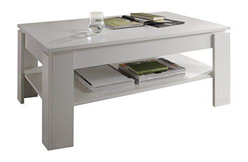 trendteam CT11201 Couchtisch Wohnzimmertisch Tisch weiss Nachbildung, LxBxH 110x65x47 cm, Melamin