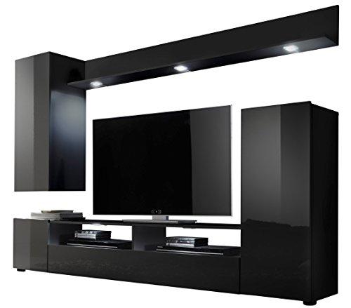 trendteam DS94532 Wohnwand Wohnzimmerschrank schwarz Hochglanz, BxHxT 208x165x33 cm