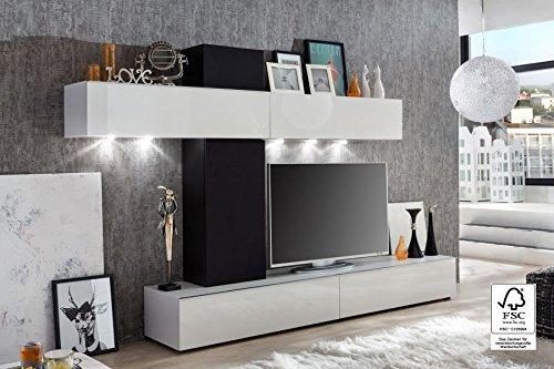 trendteam go94102 wohnwand wohnzimmerschrank weiss. Black Bedroom Furniture Sets. Home Design Ideas