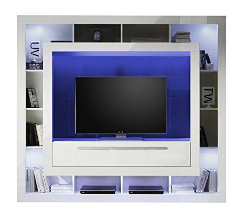 trendteam MX89301 Wohnwand TV Möbel weiss Hochglanz, BxHxT 196x175x41 cm