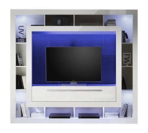 trendteam mx89301 wohnwand tv m bel weiss hochglanz bxhxt. Black Bedroom Furniture Sets. Home Design Ideas