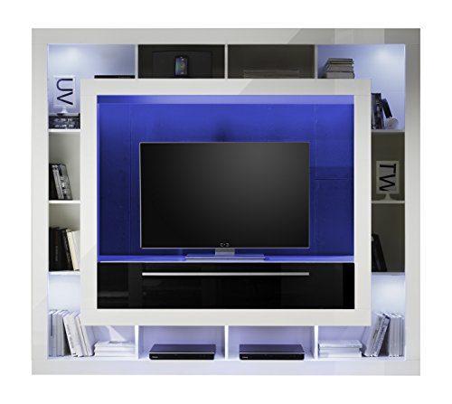 trendteam MX89302 Wohnwand TV Möbel weiss Hochglanz, Absetzung schwarz Hochglanz, BxHxT 196x175x41 cm