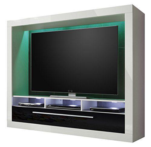 trendteam MX89502 Wohnwand TV Möbel weiss Hochglanz, BxHxT 165x135x40 cm