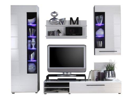trendteam sn97302 wohnzimmerschrank wohnwand anbauwand weiss hochglanz bxhxt 250x201x47 cm. Black Bedroom Furniture Sets. Home Design Ideas