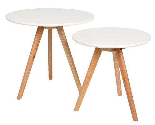 ts ideen 2er set design beistelltische rund eiche wei kaffeetisch couchtisch nachttisch weiss. Black Bedroom Furniture Sets. Home Design Ideas