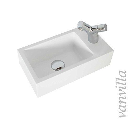 vanvilla Design Waschbecken Mineralguss Gäste WC Waschtisch Waschschale P9400 Hahnloch rechts