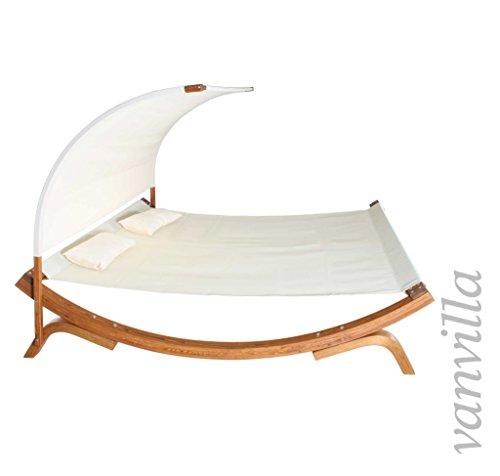 vanvilla sonnenliege mit sonnendach doppelliege gartenliege aus l rche holzfarbe teak stoff. Black Bedroom Furniture Sets. Home Design Ideas