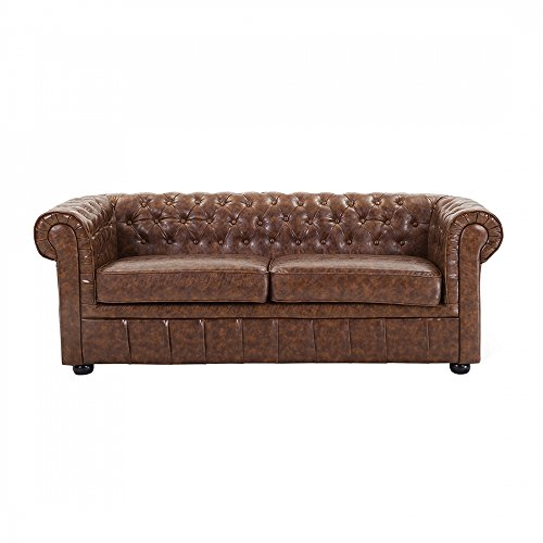 3er sofa ledersofa ledercouch old style braun chesterfield m bel24. Black Bedroom Furniture Sets. Home Design Ideas